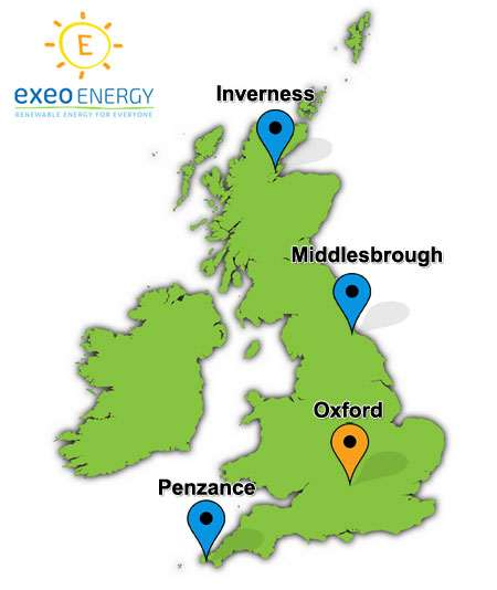 Map of the UK showing four potential solar panel sites