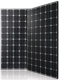 Monocrystaline Solar Cells on a white backing sheet with a black frame.