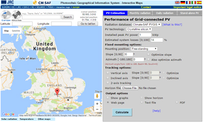 PV-GIS screenshot showing Oxford, UK