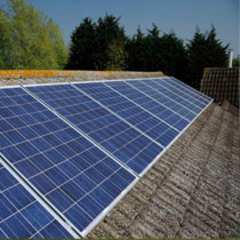 An example of a Solar Panel installation using silver framed panels.