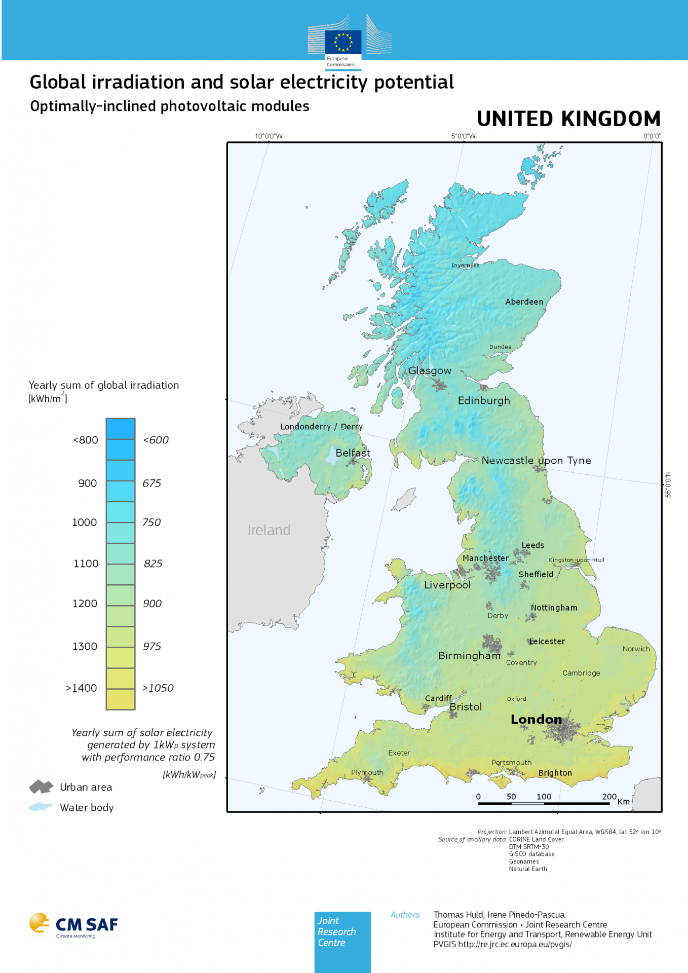A map produced by the PV-GIS service showing the annual solar irradiance for an optimally inclined solar photovoltaic panel in locations throughout the United Kingdom.