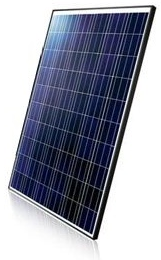 Polycrystalline Solar Cells on a white backing sheet with a black frame.
